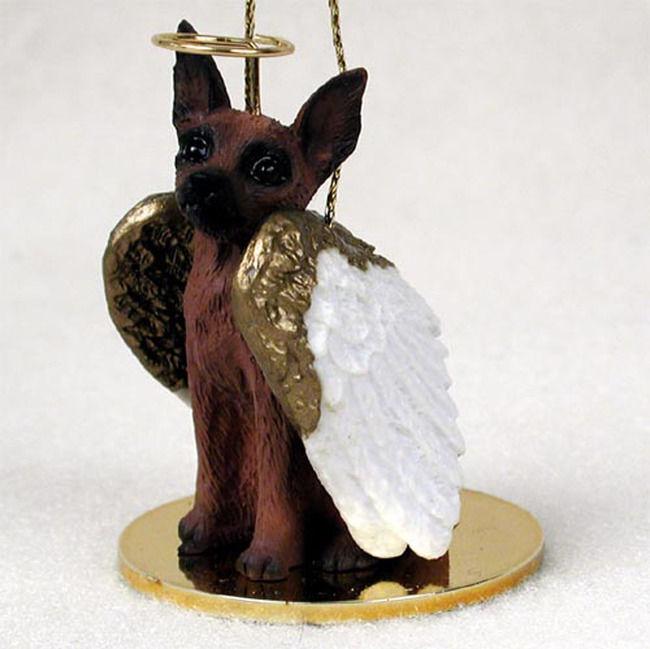Miniature Pinscher Ornament Angel Figurine Hand Painted Red/Brown