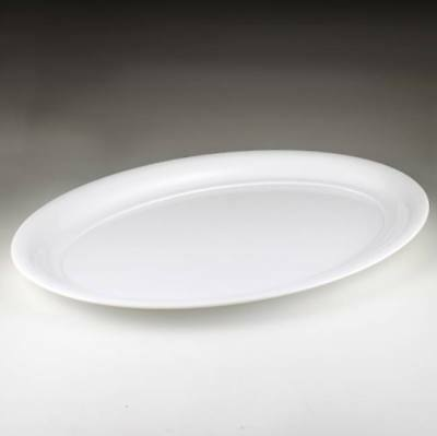 White Plastic Oval Serving Tray 21
