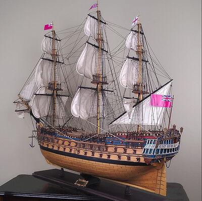 "HMS BELLONA 41"" wood model ship large scale sailing tall British boat"