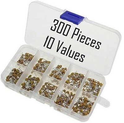 300pcs 10 Values 50v 10pf100nf Ceramic Disc Capacitors Assortment Kit With Box
