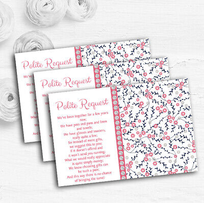 Dusty Coral Pink And Navy Blue Floral Custom Wedding Gift Money Poem - Pink And Navy Wedding