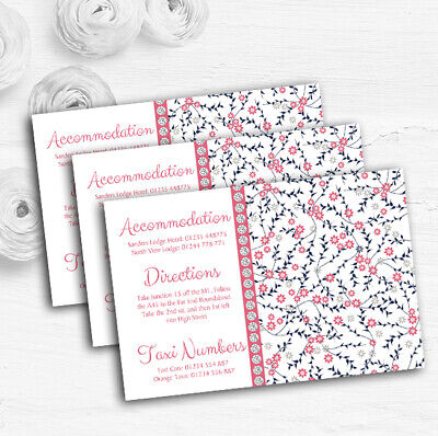 Dusty Coral Pink And Navy Blue Floral Wedding Guest Information - Pink And Navy Wedding