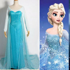 Halloween-Women-lady-Frozen-Princess-Elsa-Fancy-Dress-Adult-Costumes-Gown-Dress