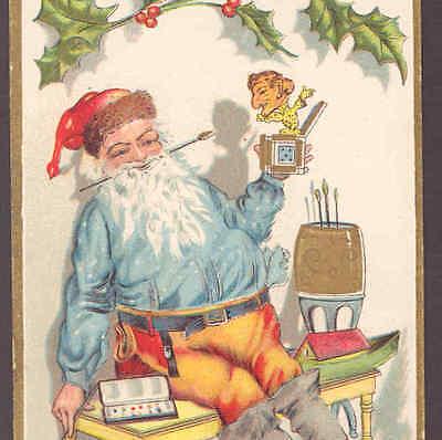 HIS HANDIWORK,PAINTED TOY JACK IN THE BOX,CHRISTMAS,POSTCARD (Santa Claus Jacke)