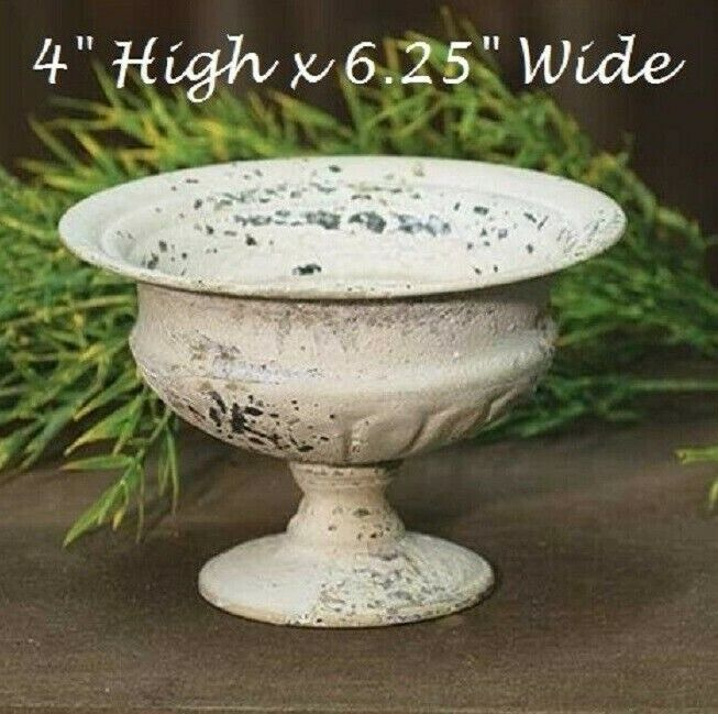 chippy urn planter cream metal french country