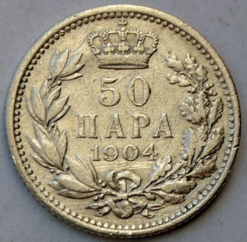Serbia, 50 Para 1904, King Petar I, Yugoslavia, silver coin