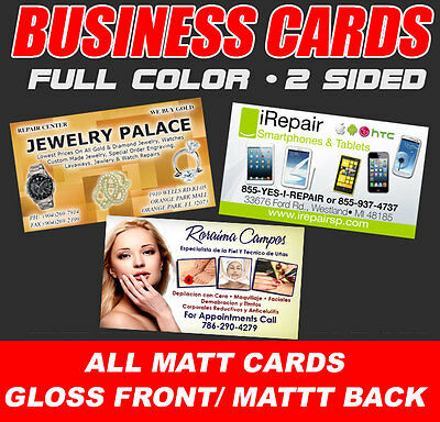 1000 CUSTOM FULL COLOR BUSINESS CARDS + FREE DESIGN & SHIPPING • MATT/UV1 CARDS