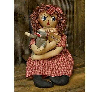 Sock Monkey Clothes (Primitive Country MACY RAGGEDY ANN  DOLL with Sock Monkey 23.5