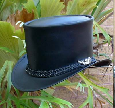 BLACK LEATHER AUSTRALIAN HAND CRAFTED STEAMPUNK TOP HAT WITH SKULL WING BADGE
