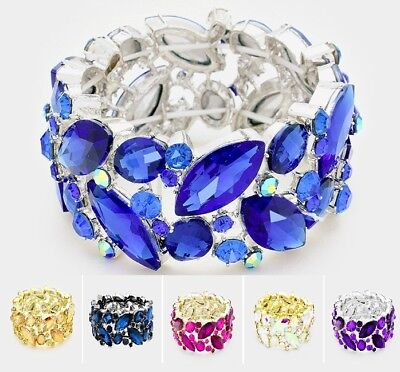 Wide Crystal Rhinestone Evening Bridal Stretch Bangle Bracelet Marquise Leaves