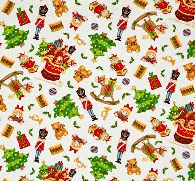 Father Christmas Santa Jolly Ole St Nick Toys Toss Cotton Quilting Fabric 1/2YD