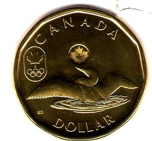 2012 Canada Olympic Lucky Loonie Brilliant Uncirculated One Dollar Coin!