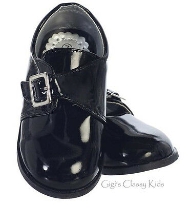 New Baby Toddler Boys Black Shiny Dress Shoes Wedding Formal Suit Buckle Party