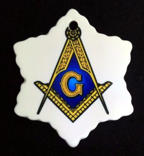Masonic Snowflake Ceramic Christmas Ornament
