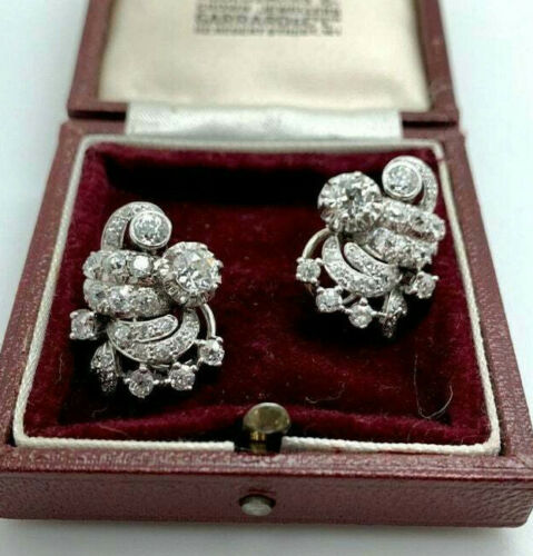 Vintage Art Deco Earrings Wedding Diamond Earrings 2.1 Ct Diamond 14k White Gold