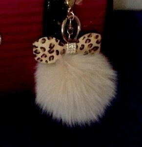 Crystal Leather Bow With Real Fox Fur Pom Pom Purse Charm Car Key Chain