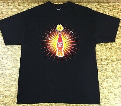Sun Drinking Coke Coca Cola Drink Choose Live On Bottle Logo Black Large T Shirt