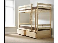 BRAND NEW Everest 3ft Single STORAGE Heavy Duty Solid Pine Bunk Bed including brand new mattresses