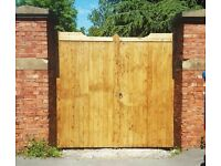 Wooden Driveway Gates - Flat Top - Heavy Duty - Timber Double Entrance Bespoke - Made To Measure