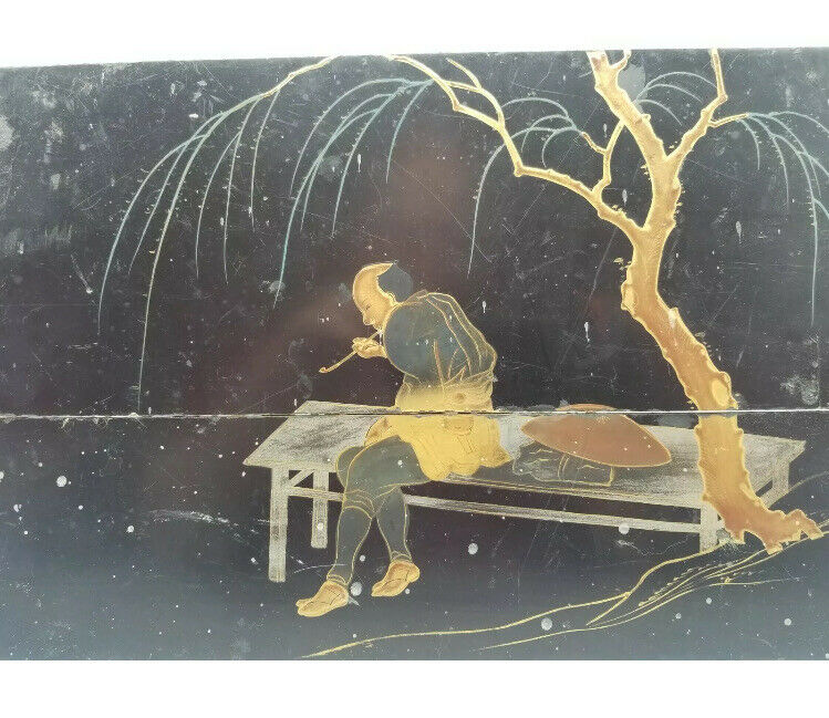ANTIQUE JAPANESE BLACK LACQUER PANEL TAISHO SHOWA MAN SMOKING PIPE Hand Painted