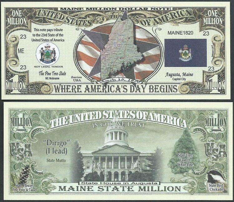 Lot of 100 BILLS- MAINE STATE MILLION DOLLAR BILL w MAP, SEAL, FLAG, CAPITOL