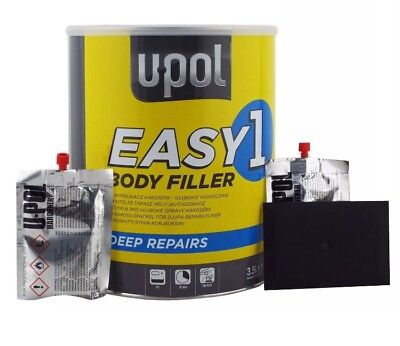 U-POL EASY 1 3.5 L Litre Body Filler Easy Sand UPOL Bodyshop FREE Spreader