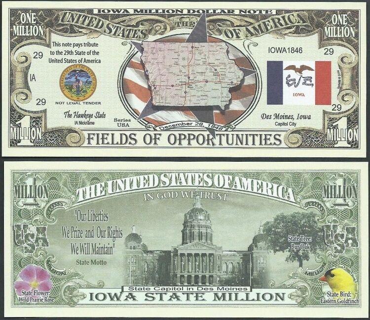 Lot of 500 Bills - IOWA STATE MILLION DOLLAR BILL w MAP, SEAL, FLAG, CAPITOL
