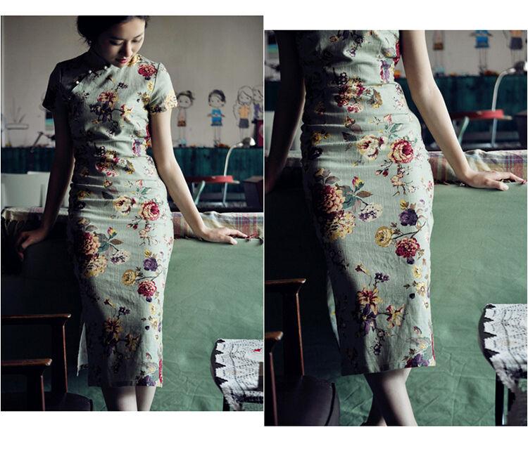 Chinese Vintage Long Cheongsam Dress Casual Wear Linen QiPao XY