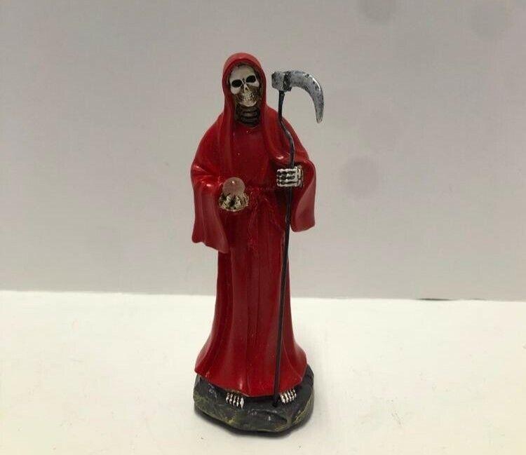 "Statue Holy Death Grim Reaper Skull Skeleton RED Santa Muerte 5 "" Roja 2013RD-5"