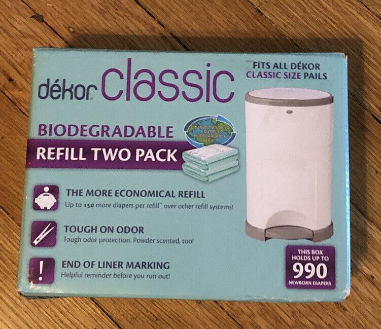 Dekor Classic Diaper Pail Biodegradable Refills 2 Pack Economical New in Box
