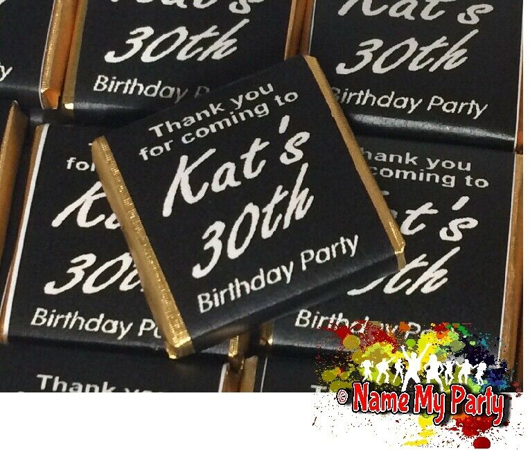 30 x Personalised Mint Chocolate Neapolitan Favour Birthday Black /& Silver