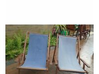 2x folding deckchairs with removable covers