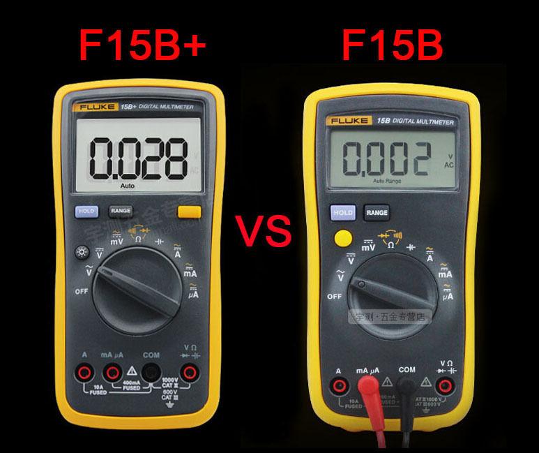 U.S. FLUKE 15B+ F15B+ Digital Multimeter Meter LED backlight w/ carry bag