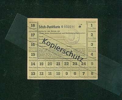 Schuh-Punktkarte Franz. Zone Baden Pfalz Württemberg 1947/1948 Bühlertal Schuhe