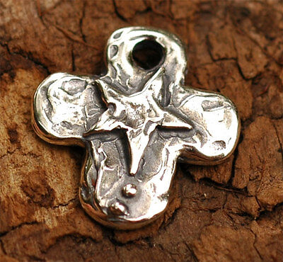 Handcrafted Sterling Silver Artisan Believe Cross Charm 76s