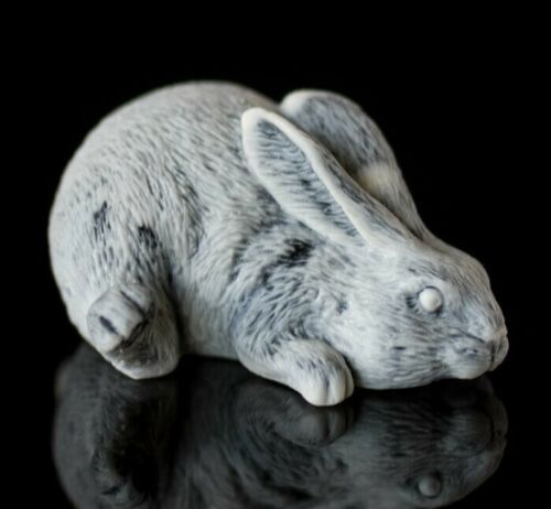 Marble rabbit statue, Russian stone art miniature realistic animal figurine