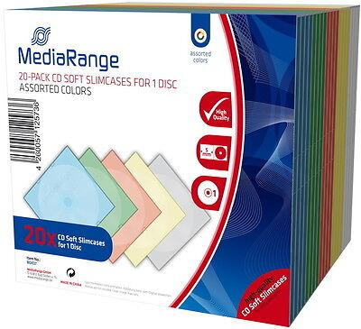 20 Mediarange CD Hüllen 1er Soft Slimcase 5 mm für je 1 BD / CD / DVD farbig