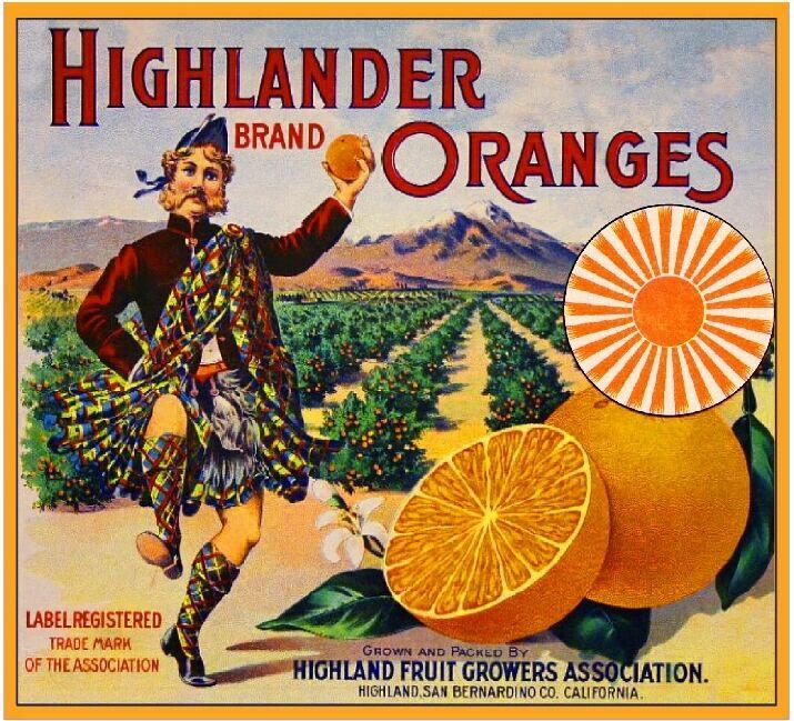 Highland Scottish Highlander Kilt Orange Citrus Fruit Crate Label Art Print