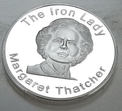 Margaret Thatcher Silver Coin Prime Minister Conservative Party 80s retro Tory