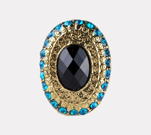 Vintage Cocktail Big Black Stone with Blue Crystal Rhinestones Adjustable Ring