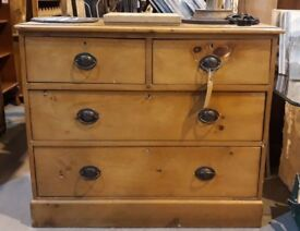 Antique Victorian Pine Chest Of Two Over Two Drawers With Prince Of Wales Handles