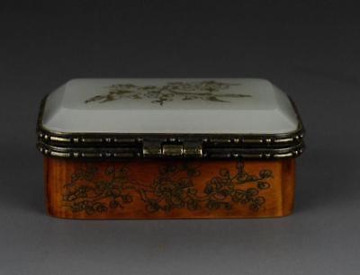 Old Chinese Bone Making Inlay Nephrite Jade Jewelry Box Magpie Plum flower