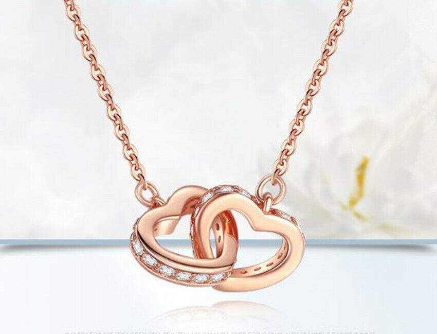 Jewellery - Rose Gold Double Heart Pendant 925 Sterling Silver Necklace Women Jewellery Gift