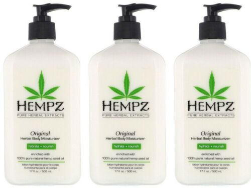 LOT of 3 Hempz Organic Hemp Original Herbal Body Moisturizer Lotion - 17 oz