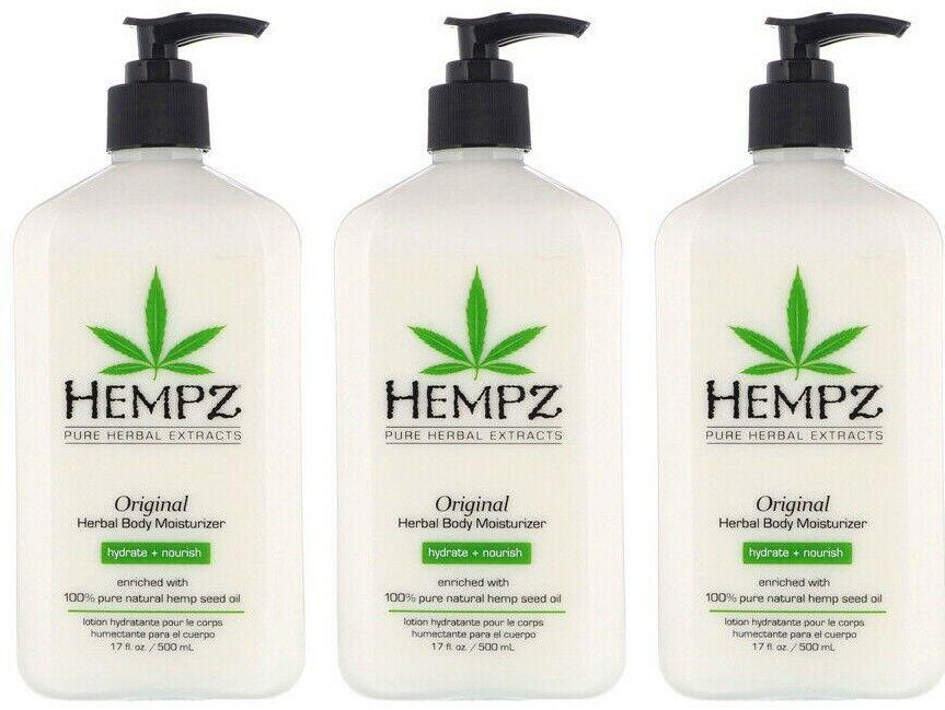 LOT of 3 Hempz Organic Hemp Original Herbal Body Moisturizer