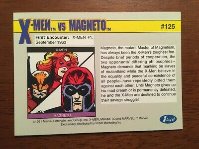 MARVEL SUPER HEROES 1991 IMPEL TRADING CARD 125 X-MEN VS MAGNETO - $1.99