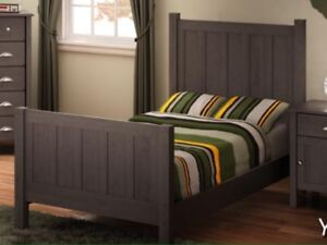 Solid Wood Twin Bed with Mattress and box spring