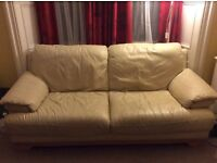 Beige Leather Three Seater Couch £20