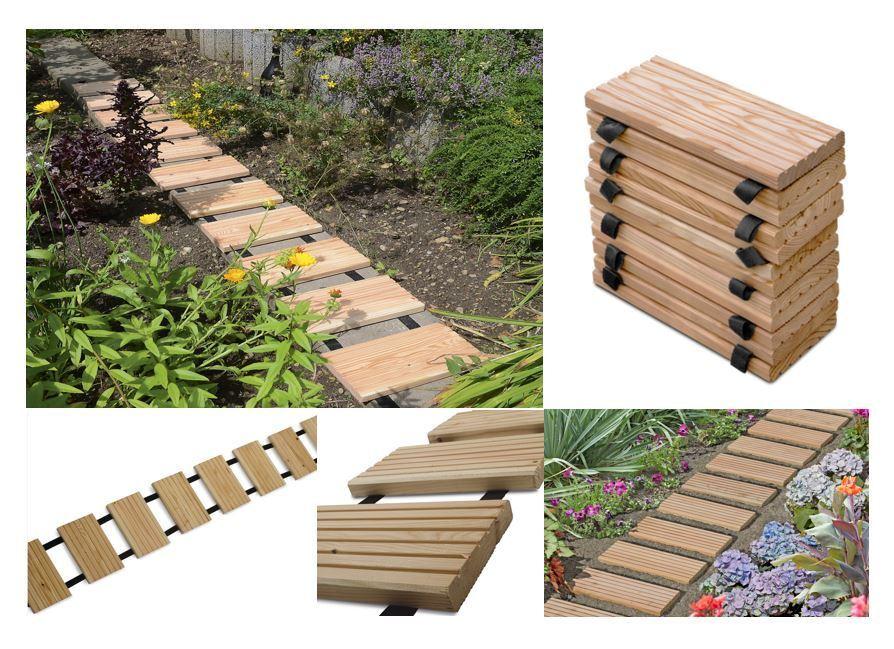 Gartenweg ROLLWEG Lärche, Holztritte Lärchenholz, Gehwegplatten, Terrassendielen