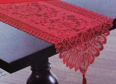 RED LACE TABLE Dresser RUNNER/ TASSLE VALENTINE DECOR Holiday Christmas 13